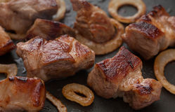 Grilled meat with orion Stock Photos