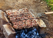 Grilled meat outdoors. Meat, roasted over an open fire, barbecue Stock Photos