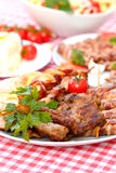 Grilled meat on plate Stock Photography
