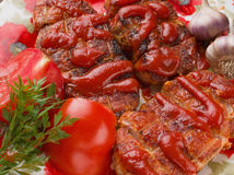 Grilled meat on the plate Stock Images
