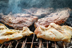 Grilled meat, pork, beef and chicken meat on barbecue, grill Stock Photography