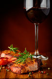 Grilled meat and red wine royalty free stock photo