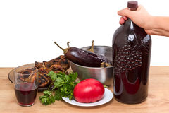 Grilled meat and red wine Stock Photo
