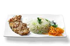 Grilled meat and rice Royalty Free Stock Photography