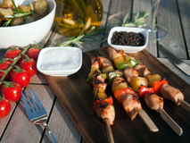 Grilled meat with roasted potatoes dinner Stock Photo