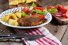 Grilled meat with salad. Grilled meat with salad and roasted potatoes Royalty Free Stock Photos