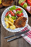 Grilled meat with salad. Grilled meat with salad and roasted potatoes Royalty Free Stock Images