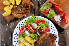 Grilled meat with salad. Grilled meat with salad and roasted potatoes Royalty Free Stock Image