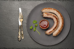 Grilled meat sausage Stock Photos