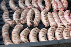 Grilled meat. Sausage skewers pork steaks and cow Royalty Free Stock Image