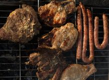 Grilled meat, sausage, steak, real food for real men stock photo