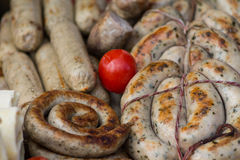 Grilled meat sausages Royalty Free Stock Photography