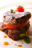 Grilled meat served in a gourmet style Royalty Free Stock Images