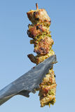 Grilled meat on a skewer Royalty Free Stock Photos