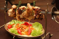 Grilled meat on skewer Stock Photography