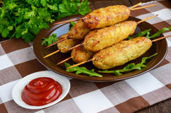 Grilled meat on a skewer - lula kebab. Royalty Free Stock Image