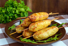 Grilled meat on a skewer - lula kebab. Stock Images