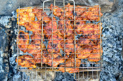 Grilled meat skewers, barbecue Stock Images