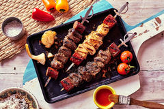 Grilled Meat Skewers with Fresh Ingredients Stock Photo