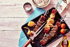 Grilled Meat Skewers with Fresh Ingredients Royalty Free Stock Images