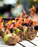 Grilled Meat Skewers Stock Photo