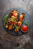Grilled meat skewers, shish kebab with onion and sweet pepper. Stock photo royalty free stock photo