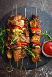 Grilled meat skewers, shish kebab with onion and sweet pepper. Stock photo stock photo