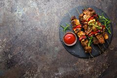 Grilled meat skewers, shish kebab with onion and sweet pepper. Stock photo royalty free stock photography