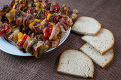 Grilled meat skewers with vegetables Royalty Free Stock Image