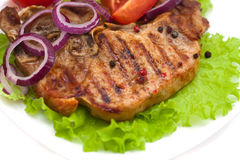Grilled meat steak with herbs Stock Image