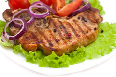 Grilled meat steak with herbs Stock Photography