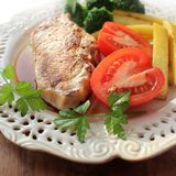 Grilled meat steak with vegetables Royalty Free Stock Photos