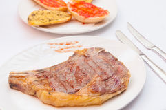Grilled meat steak and vegetables Royalty Free Stock Photo