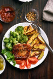 Grilled meat steak with vegetables Stock Photo