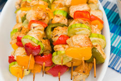 Grilled meat on sticks Royalty Free Stock Images