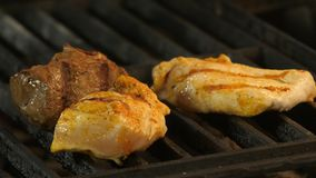 Grilled meat, two chicken fillets or turkey meat with grill prints and veal meat is medalled grilled. Macro photography. 4k stock video