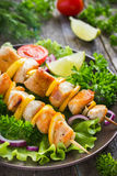 Grilled meat and vegetable kebabs Royalty Free Stock Image