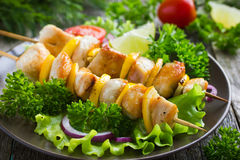 Grilled meat and vegetable kebabs Royalty Free Stock Photos