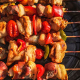 Grilled meat and vegetable skewers Royalty Free Stock Images