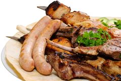 Grilled meat with vegetables Stock Photography