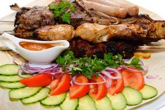 Grilled meat with vegetables Royalty Free Stock Photos