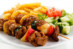 Grilled meat and vegetables Royalty Free Stock Photography