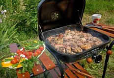 Grilled Meat & Vegetables Stock Photo