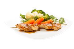 Grilled meat and vegetables Royalty Free Stock Photos
