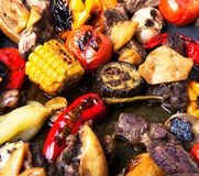 Grilled meat and vegetables Stock Photography