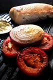 Grilled meat with vegetables clasical barbecue Stock Photo