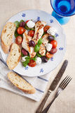 Grilled meat with vegetables, curd and bread Royalty Free Stock Photos