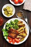 Grilled meat and vegetables Royalty Free Stock Images