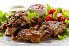 Grilled meat and vegetables Stock Image