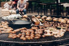 Grilled meat and vegetables mushrooms. roasting beef pork on big royalty free stock photo